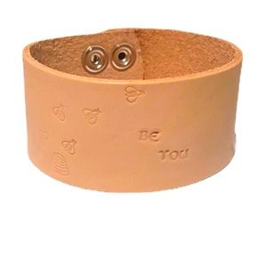 """Handtooled leather """"Bee You"""" cuff bracelet"""